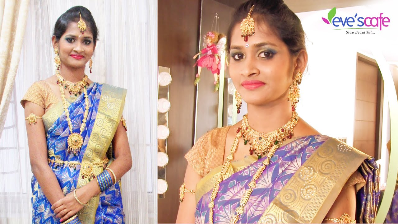 south indian bridal makeup with bridal hairstyle
