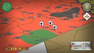 22 июня 2018. Военная обстановка в Сирии. Удар коалиции США по сирийской армии на востоке Сирии.