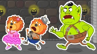 Lion Family 🦁 Escape from the Orc Cave 👪 Cartoon for Kids