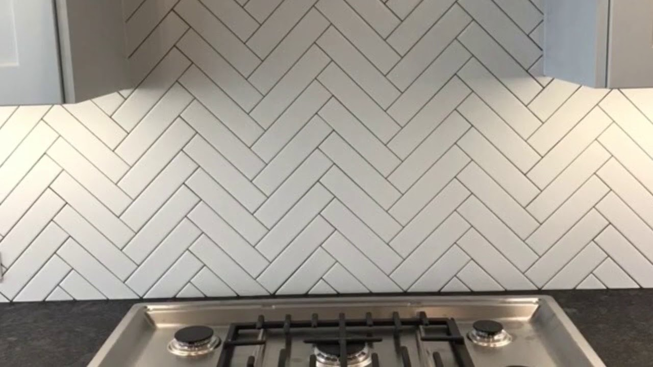 Herringbone Backsplash Completed  YouTube
