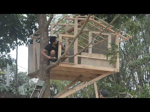 How to Build An Amazing wood house on tree -  Quang DIY