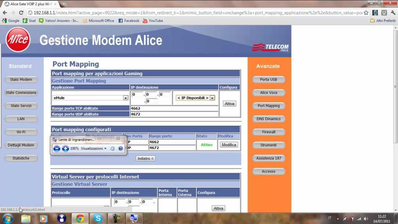 Aprire le porte di emule e utorrent su modem alice gate for Porte utorrent