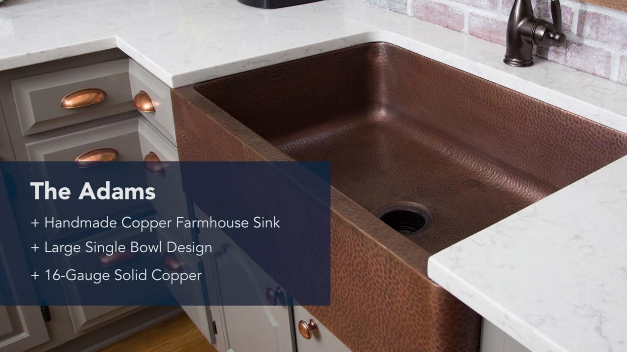 Sinkology Adams Copper Farmhouse Kitchen Sink - YouTube