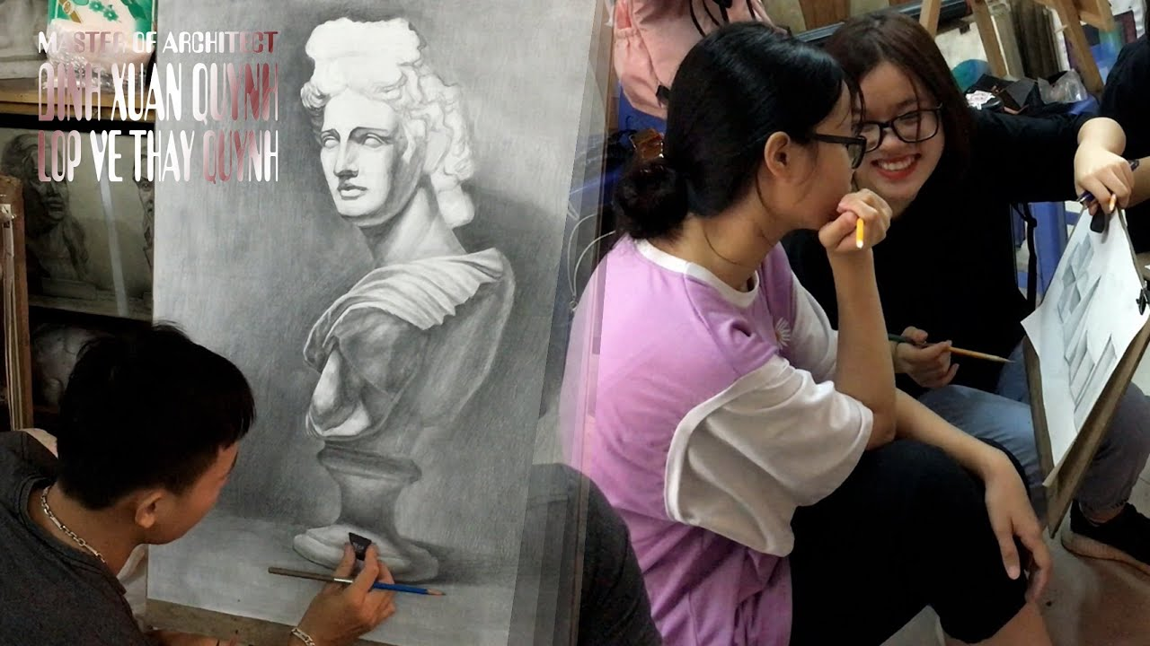 Vẽ tượng thạch cao Apollo – Thần Ánh Sáng (Greek God of Light) drawing tutorial Apollo