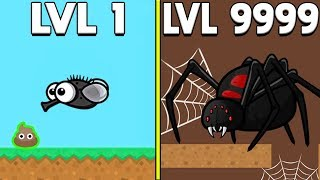 GIANT SPIDER STRONGEST MUTATION IN SPACE MAX LEVEL (NEW HIGHEST 9999+ LEVEL UPDATE?) - FlyOrDie.IO