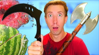 5 VIDEO GAME WEAPONS in REAL LIFE - Castle Crush vs Fruit Ninja Unboxing