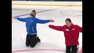 Евгения Медведева и Александр Энберт на тренировках