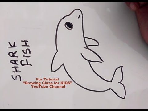 How To Draw Shark Fish Drawing Step By Step Tutorial For Kids Youtube