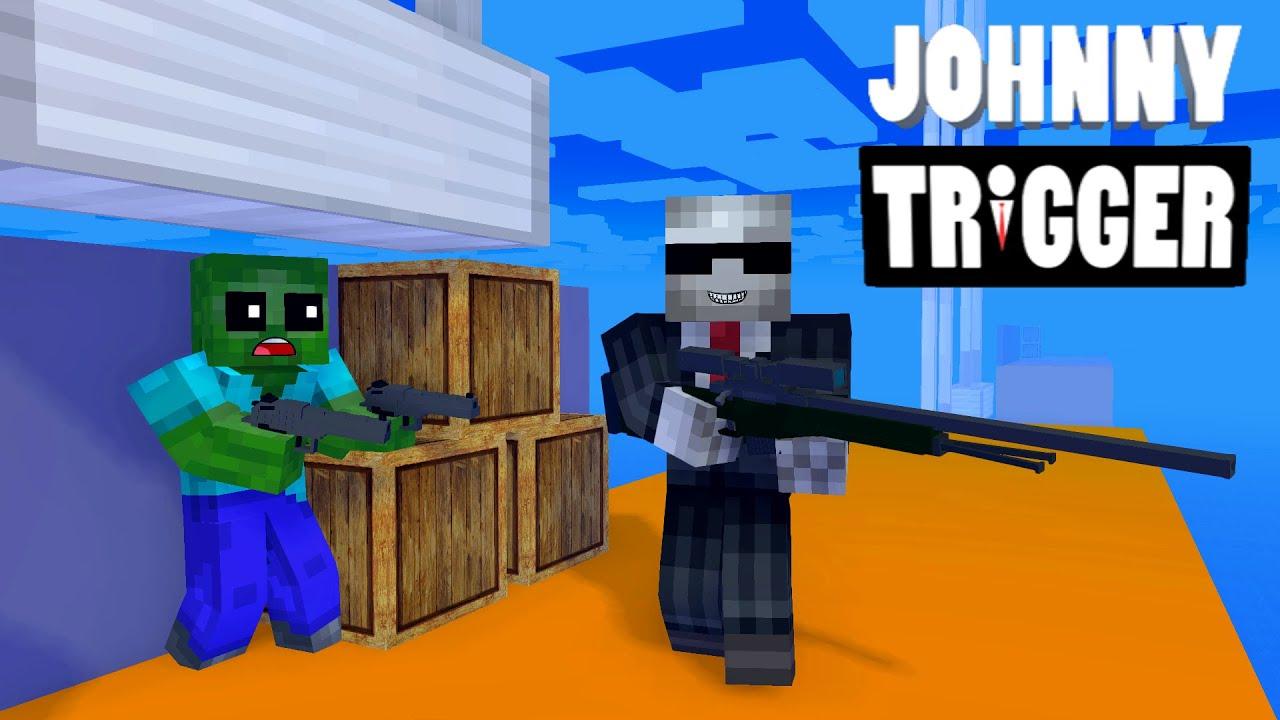 Monster School : Fighting Johnny Trigger Challenge - Minecraft Animation