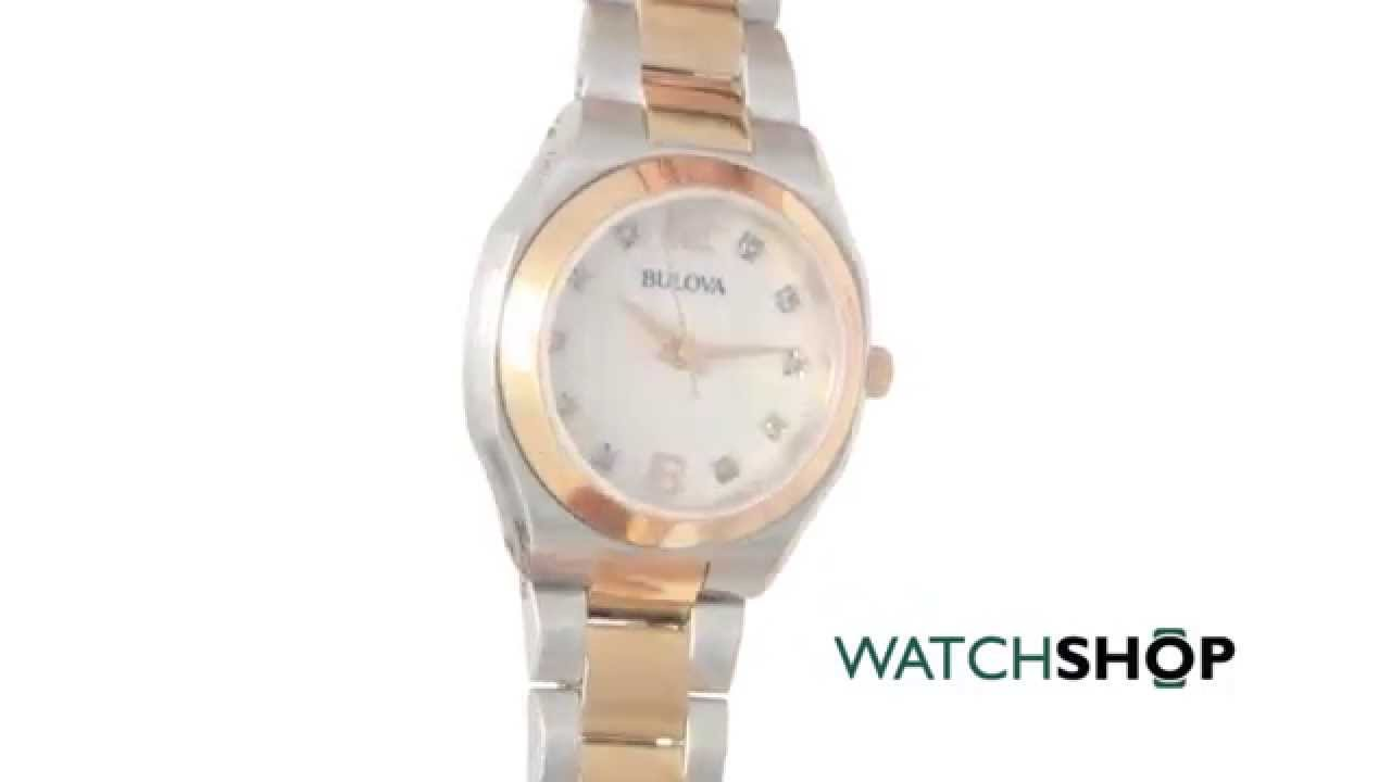 Bulova Ladies\' Diamond Gallery Watch (98P143) - YouTube