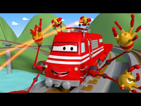 Troy The Train is The Rock Piercer in Train Town -  Cars & Trains construction cartoon for children