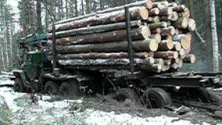 УРАЛ лесовоз проходит брод