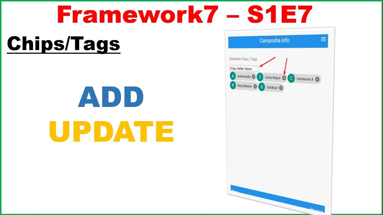 Framework7 S1E7 : Chips/Tags - ADD DELETE