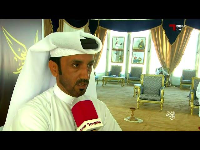 فهد حسين الكبيسي رئيس لجنة الدعو يتحدث مع مراسل قنوات الكاس في مهرجان مرمي 2021