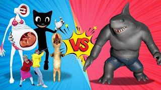 KING SHARK VS MEGAPHONE SIREN HEAD VS CARTOON CAT VS SCP 173