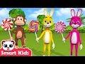 Funny Monkey Play With Bunny Rabbit Lollipop   Animals Help Bunny   If You're Happy Nursery Rhymes