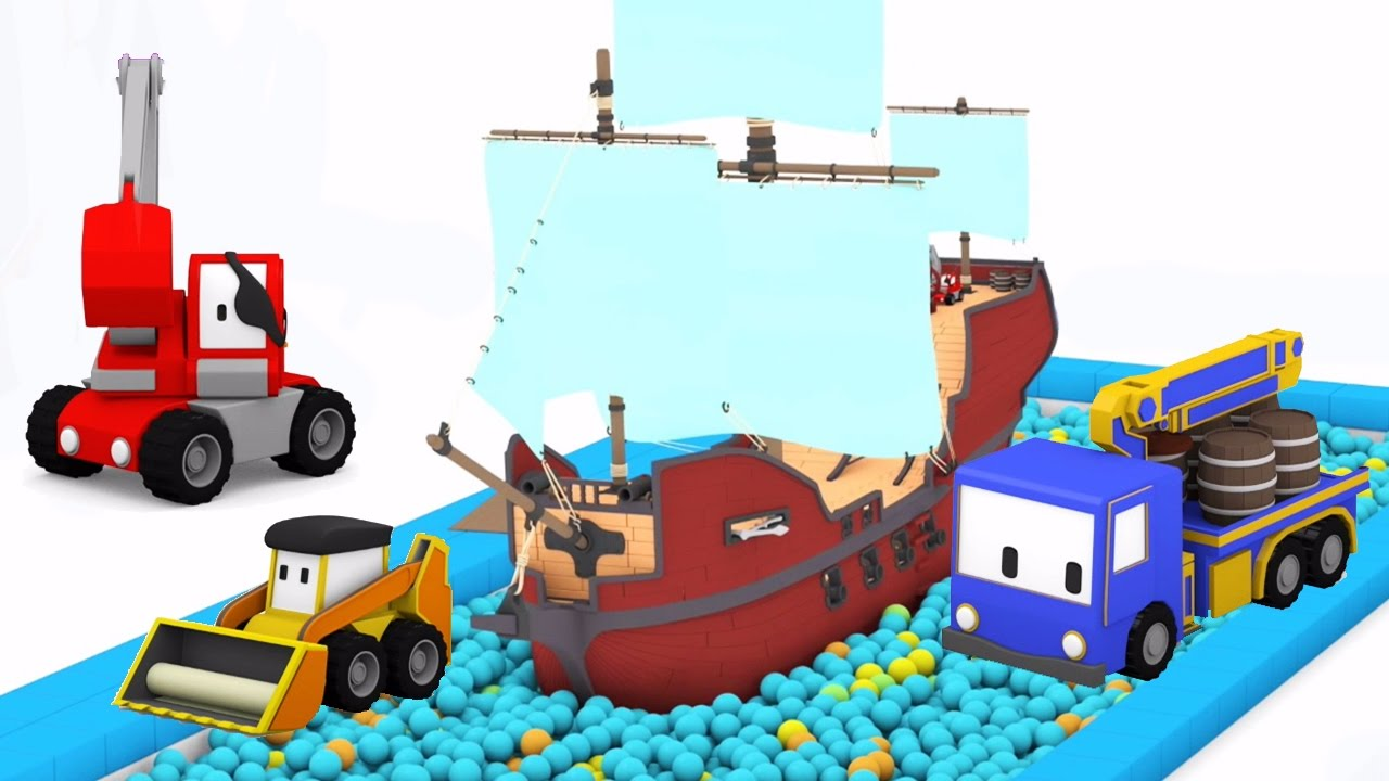the pirate ship learn with tiny trucks at the funfair with