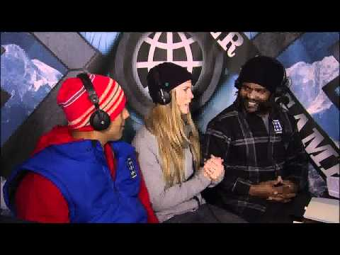 Winter X Games 15 - Torah Bright hangs out in broadcast booth