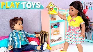 Play AG Baby Doll & Refrigerator Toy with Pretend Food!