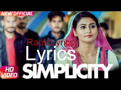 Simplicity | Sabee Sohal | Latest Punjabi Song 2017 | Speed Records Lyrics