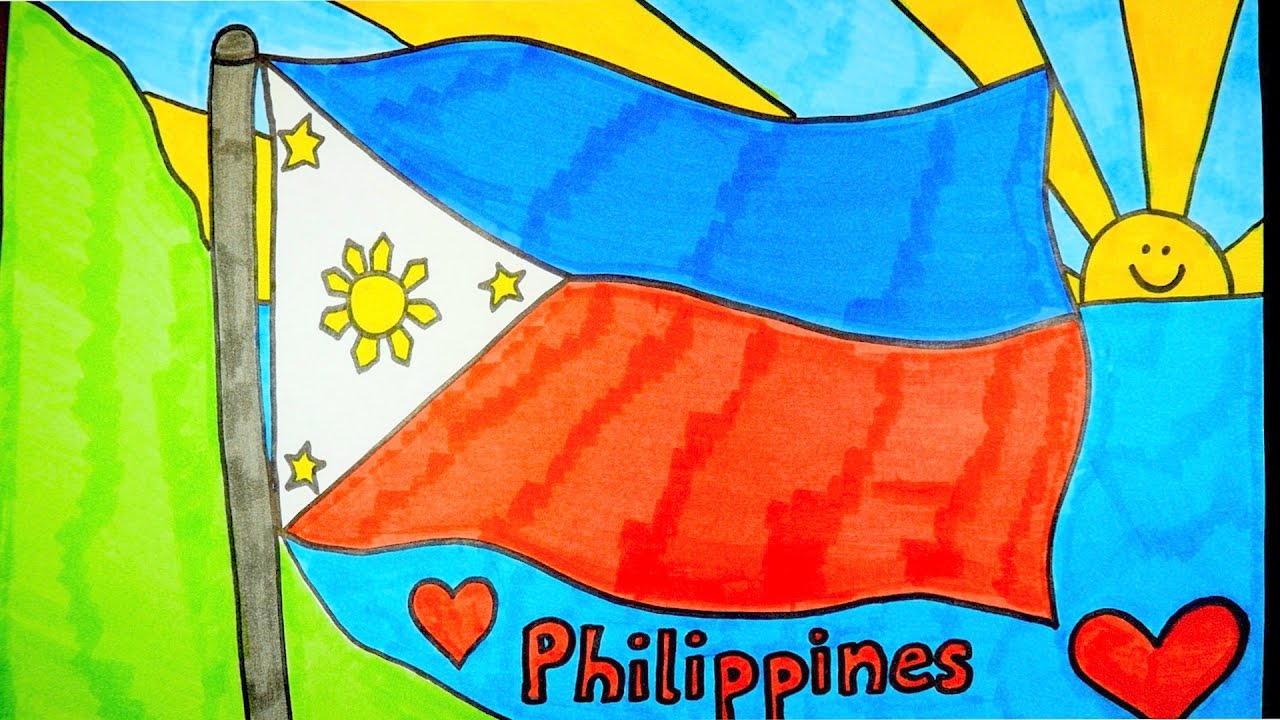 philippines flag coloring page - how to draw philippines flag kids coloring videos youtube