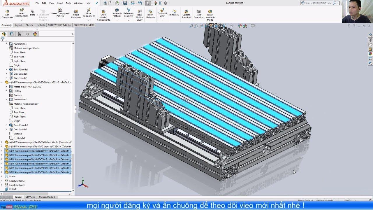 [DIY CNC – SolidWorks 2018] 18. Lắp Bàn Máy Trên Khung Trục Y