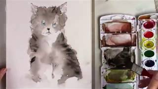 Watercolor for Kids _ painting a simple Kitty