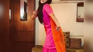 Beautiful desi girl dancing on Punjabi song in pink salwar suit