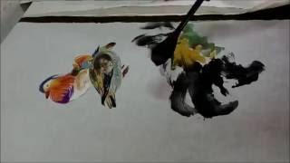 20160709陳永浩CHEN YUNG HAO老師授課Ink and color PAINTING 畫荷花鴛鴦 Painted lotus & mandarin duck