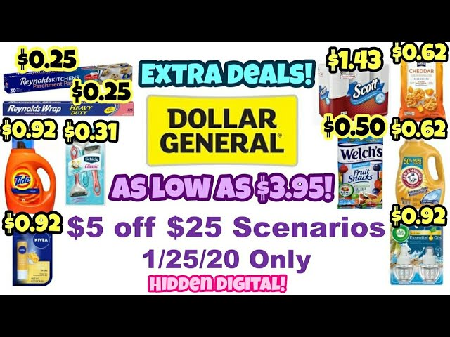Dollar General $5 off $25 Scenarios 1/25/20!