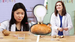 Adults Try Kids' Potato Light Science Experiment