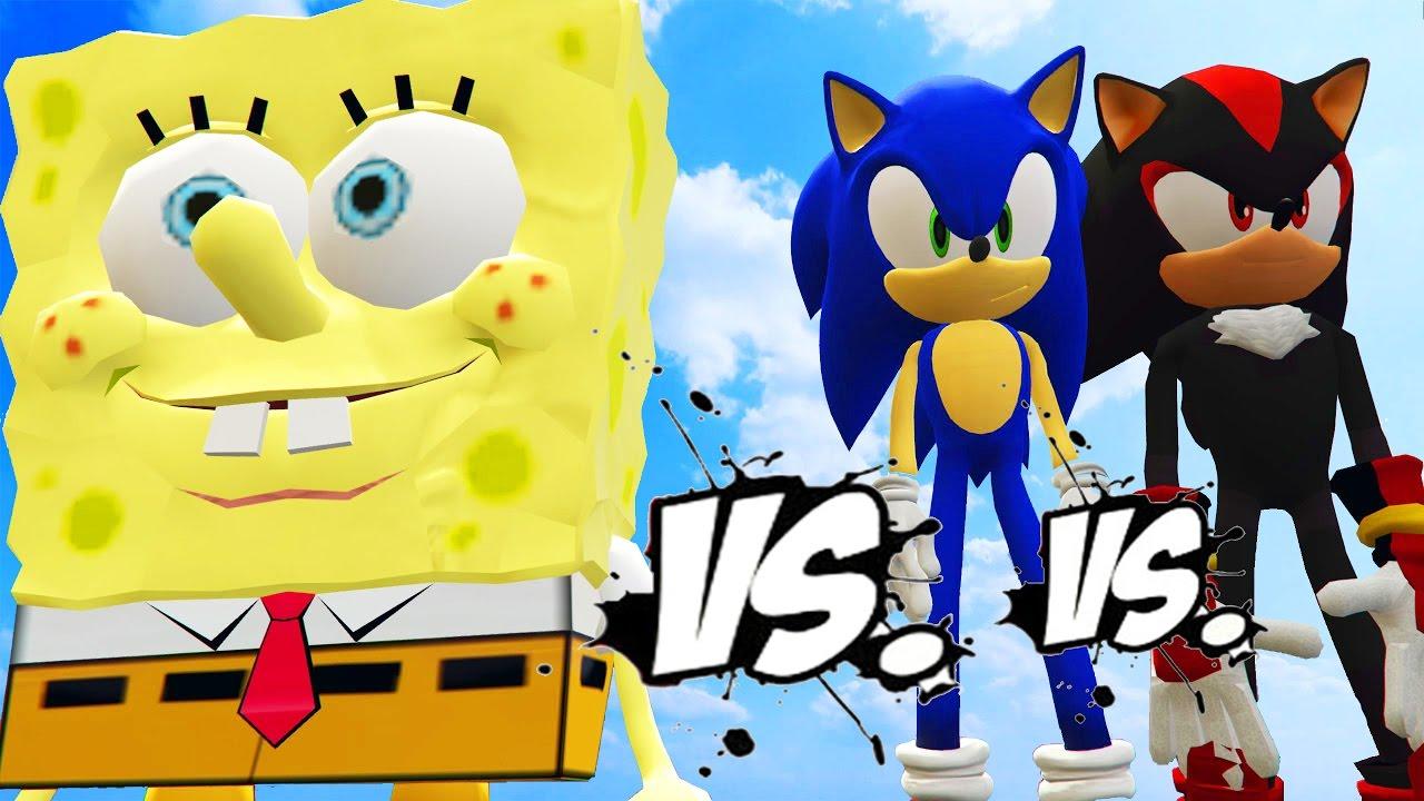 sonic vs spongebob vs shadow great battle youtube