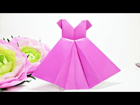 Origami Dress - craft for kids Easy Tutorial for Beginners Paper Dress art clothes DIY