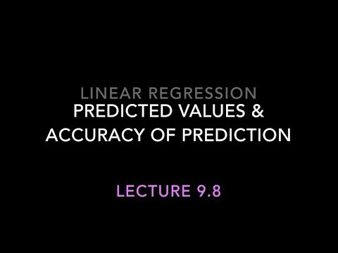 9.8 Linear Regression: Predicted Values & Accuracy of Prediction