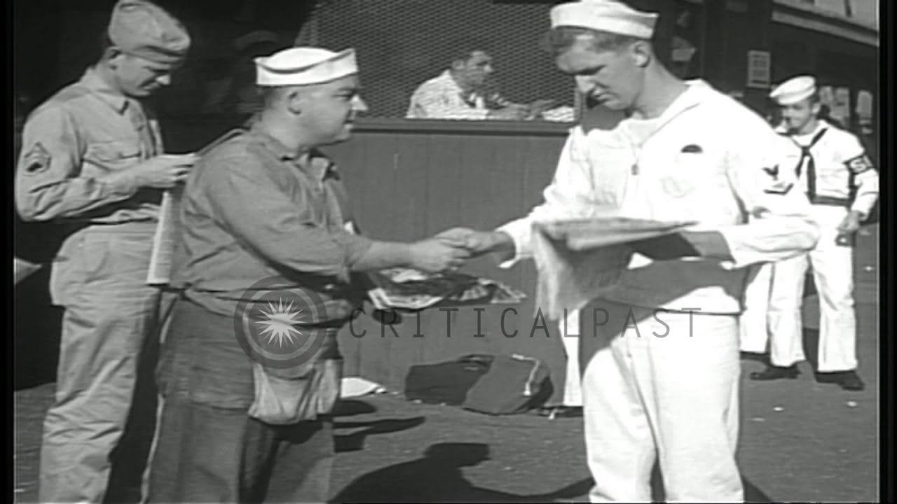 Sailor Announcing News About The Japanese Surrender Ending World War Ii Hd Stock Footage
