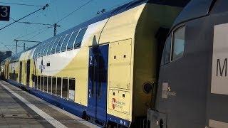 Eine Mitfahrt im Metronom-Ersatzzug des Meridians - Blick auf: Innenraum, Abfahrt, ...