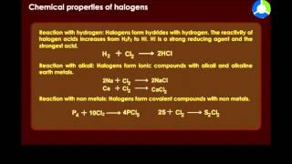 Chemical Properties of Halogens