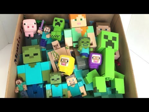 Minecraft Squishies Box Full Of Minecraft Toys Action Figures Minecraft And Power Rangers Toys