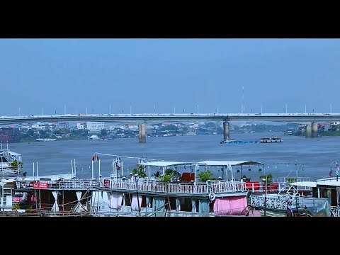 Northern View of Phnom Penh Capital Videoed Across the Tonle Sab River, Cambodia