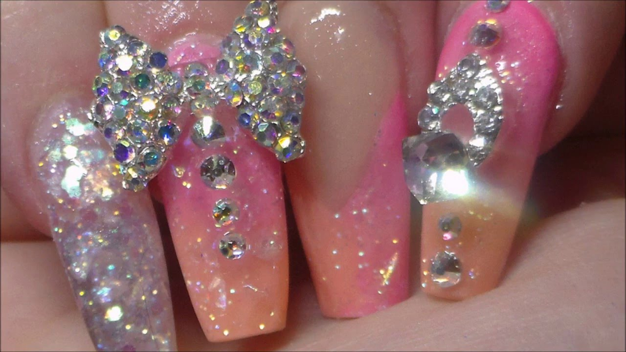 acrylic nails pink ombre bling youtube