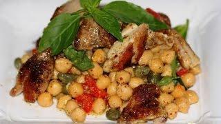 Теплый салат с нутом и курицей от Рамзи  Пошаговый рецепт