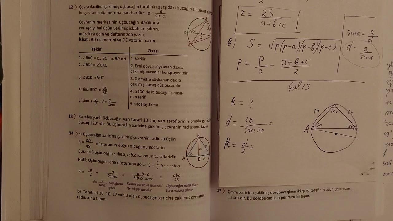 9cu sinif Riyaziyyat seh 126-127-128 Cevrenin daxiline ve xaricine cekilmiş coxbucaqlilar