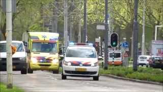 (primeur) Ambulance, Brandweer en Politie met spoed naar GRIP1 ZG brand Homerusplein te Rotterdam