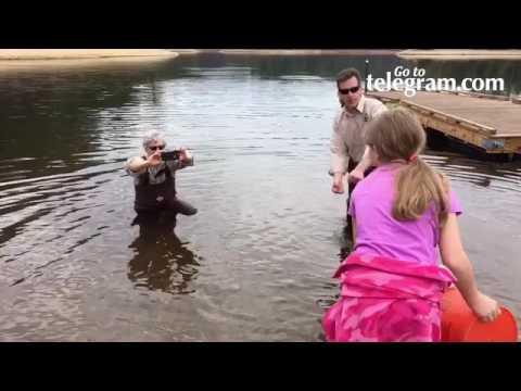 Petersham Center School pupils help stock Rainbow Trout at Quabbin Reservoir