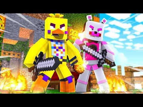 Chica and Funtime Freddy Play Bed Wars! Minecraft FNAF Roleplay