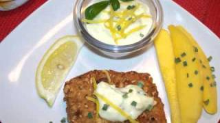 Macadamia Crusted Mahi-mahi Creamy Basil Garlic Lemon Sauce