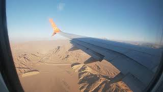 вид на Египет Шарм эль шейх из окна самолета и посадка