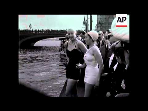 FILM STAR SWIMS THE THAMES
