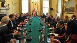 PM Modi meets PM Cameron for delegation level talks