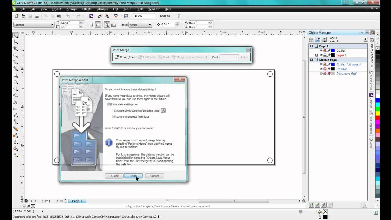 using print merge in coreldraw graphics suite x6 youtube